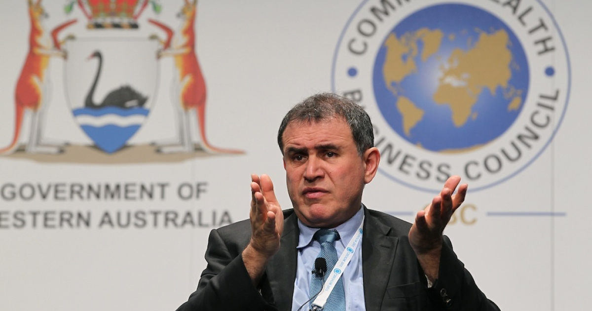 Former White House economist Nouriel Roubini listens to questions after delivering an address at the Commonwealth Business Forum in Perth on October 25, 2011. Roubini published his global economic outlook for 2013.</p>
