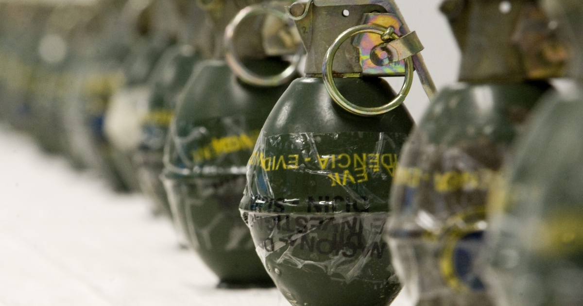 Hand grenades seized by Colombian police are displayed at a press conference, in Cali, Valle del Cauca department.</p>