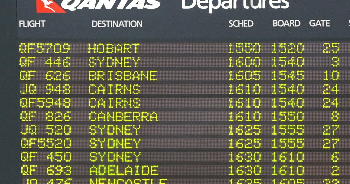The departures board displays flights from Melbourne Airport on October 31, 2011.</p>