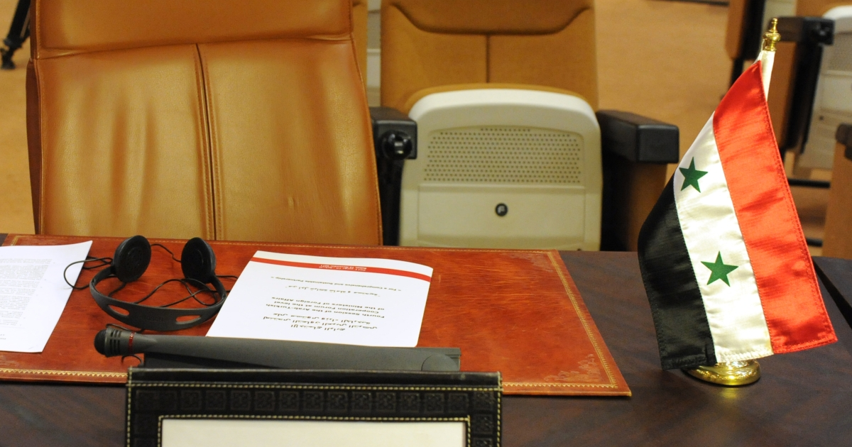 The empty seat of Syrian delegation is seen during a meeting comprising of Arab league Member states and Turkey to discuss a response to the crackdown in Syria, in Rabat on November 16, 2011.</p>
