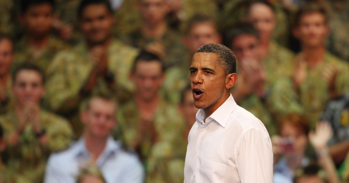 President Barack Obama addresses troops at a Darwin military base on the second day of his 2-day visit to Australia, on November 17, 2011 in Darwin, Australia.</p>