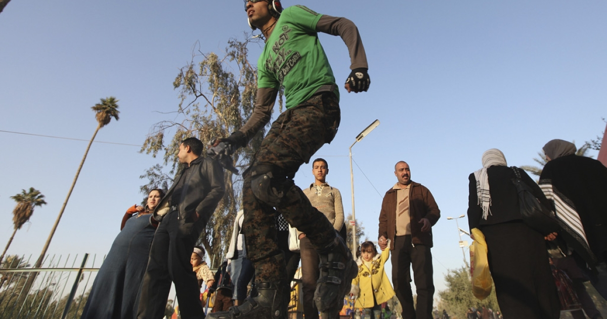 A teenager rollerblades at Zawraa Park on Dec. 2, 2011, in Baghdad, Iraq. According to reports, Iraqi teens are being stoned to death for dressing 'emo.'</p>