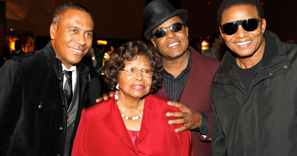 Show musical designer Kevin Antunes, Katherine Jackson, Tito Jackson and Jackie Jackson appear at Michael Jackson Fan Fest prior to the Las Vegas premiere of Michael Jackson THE IMMORTAL World Tour by Cirque du Soleil at the Mandalay Bay Resort &amp; Casino December 3, 2011 in Las Vegas, Nevada.</p>