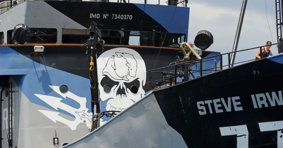 The ship Steve Irwin, from the fleet of environmental activist group Sea Shepherd, sits at anchor in Gage Roads off Fremantle near Perth on December 7, 2011.</p>