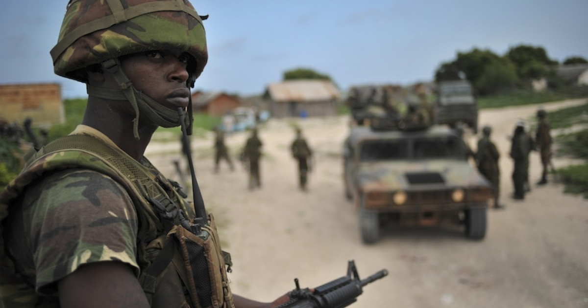 A Kenyan Defense Force soldier is pictured in Ras Kamboni, southern Somalia on December 13, 2011. Members of the international media were invited by the Kenyan army to Ras Kamboni as part of the first media opportunity granted to International media since Kenya began military operations in Somalia.</p>