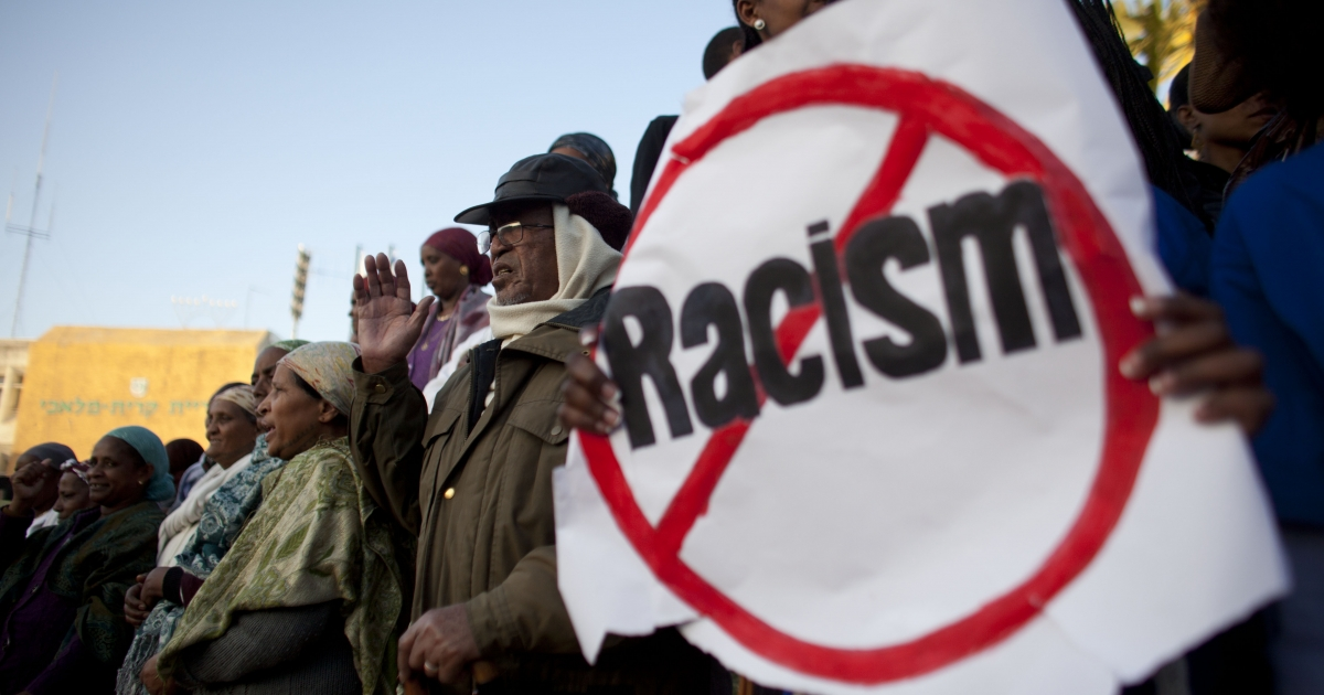 Israelis of Ethiopian origin take part in a rally against racism on Jan. 10, 2012, in the southern Israeli town of Kiryat Malachi, Israel.</p>
