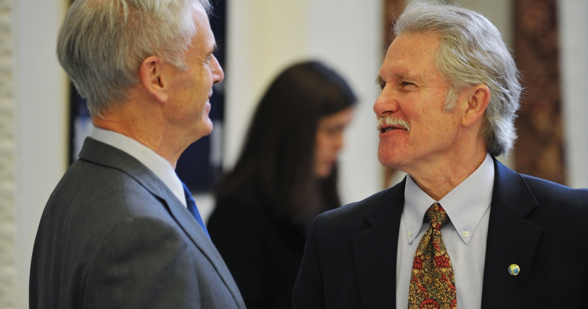 Gov. John Kitzhaber (R)  pictured at the Eisenhower Executive Office Building, next to the White House, in Washington, DC on January 11, 2012.</p>