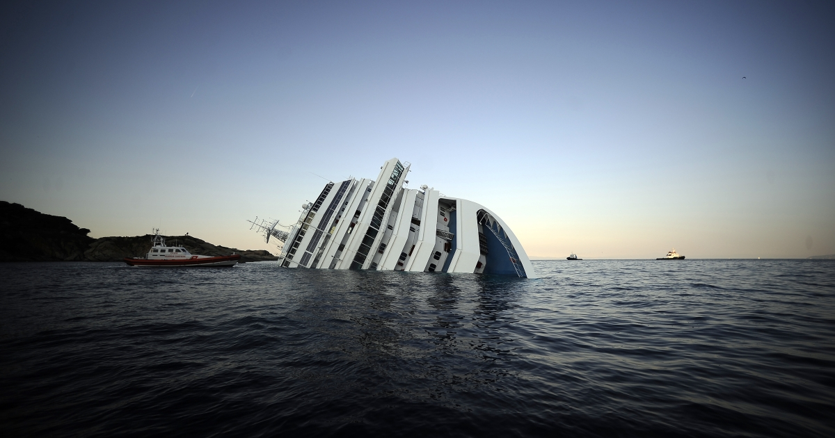 The Costa Concordia, photographed January 14, 2012, after it ran aground and keeled over off the island of Giglio.</p>