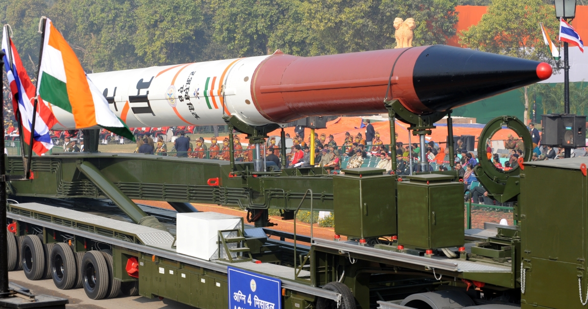 An Agni 4 Missile is displayed during the final full dress rehearsal for the Indian Republic Day parade.</p>