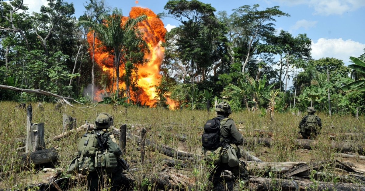 Anti-narcotics forces blow up a laboratory for processing cocaine belonging to the Revolutionary Armed Forces of Colombia (FARC) in the municipality of Puerto Concordia, Meta department, Colombia, on Jan. 25, 2011.</p>
