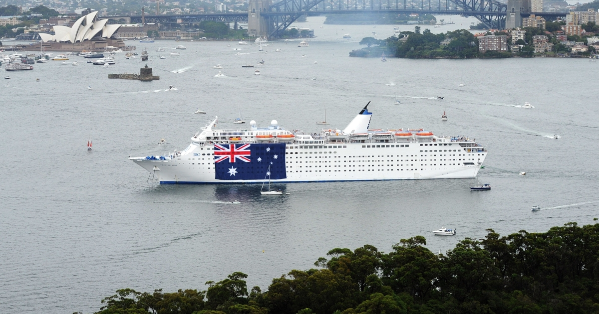 The cruise ship Pacific Sun joins in Sydney's Australia Day celebrations on Jan. 26, 2012 in Sydney, Australia.</p>
