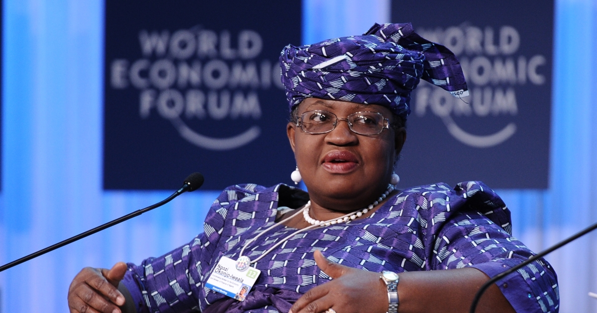 Nigerian Economy and Finance Minister Ngozi Okonjo-Iweala, speaks on January 26, 2012 at the World Economic Forum (WEF) in the Swiss resort of Davos.</p>
