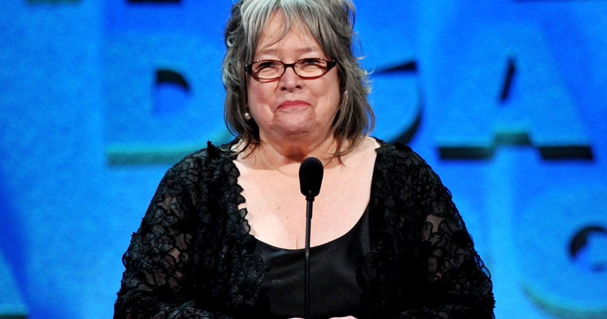 Actress Kathy Bates speaks onstage during the 64th Annual Directors Guild Of America Awards held at the Grand Ballroom at Hollywood &amp; Highland on January 28, 2012 in Hollywood, California.</p>