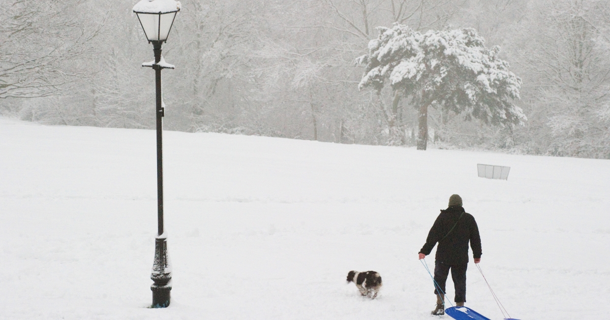 A man drags two sledges through the snow on the hill in Alexandra Park, north London on February 5, 2012.</p>