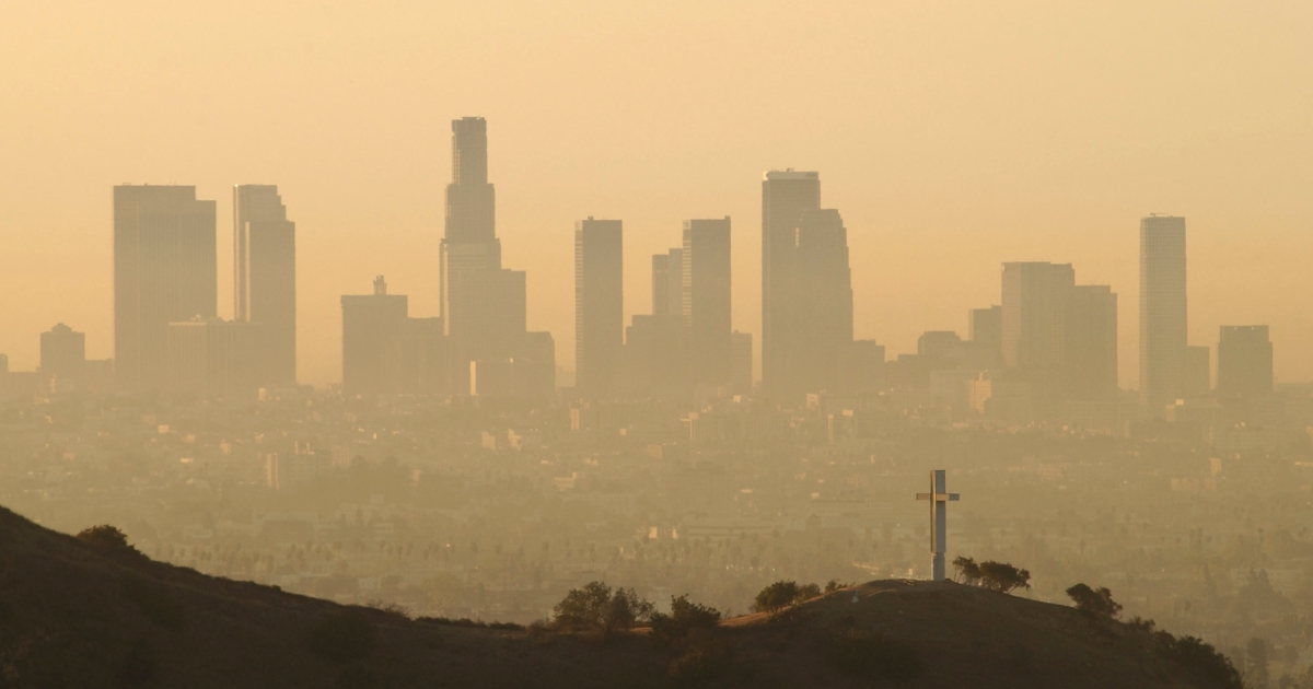 The downtown Los Angeles skyline.</p>