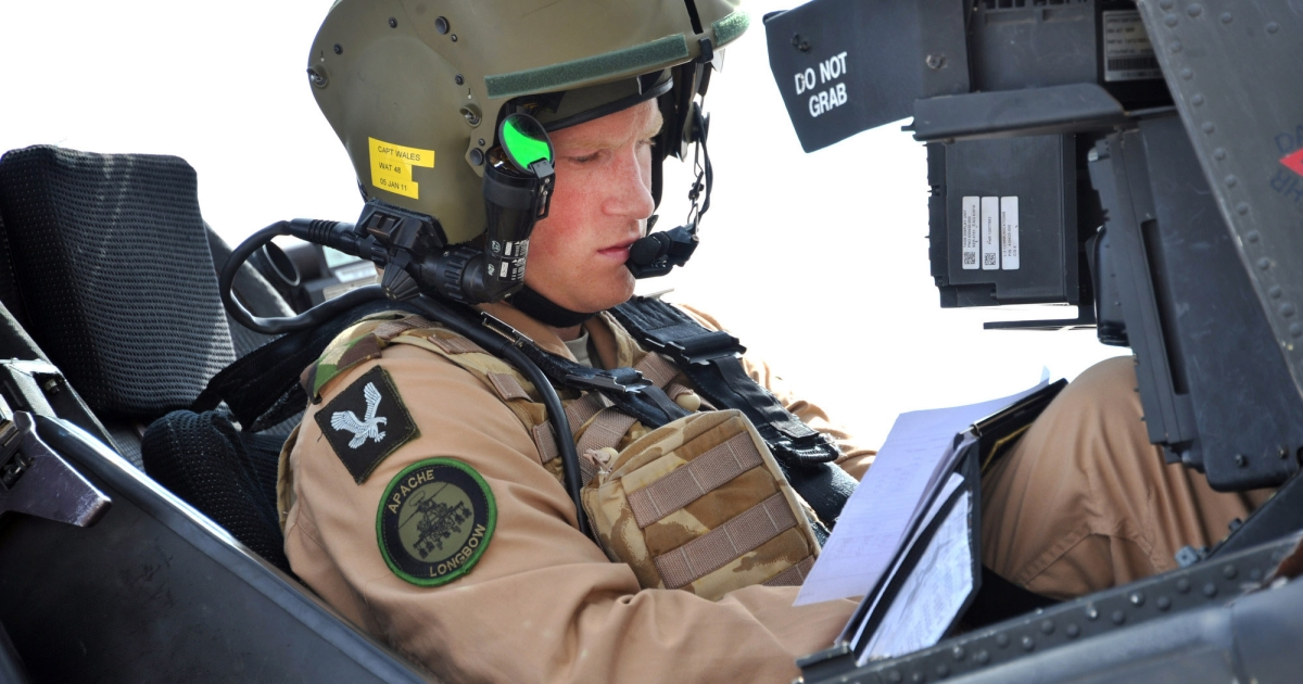 Prince Harry prepares his Apache to go out on a mission on October 25, 2011 in El Centro, California.</p>