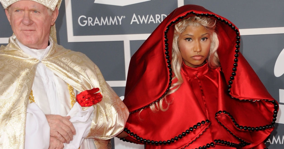 LOS ANGELES, CA - FEBRUARY 12: Singer Nicki Minaj arrives at the 54th Annual GRAMMY Awards held at Staples Center on February 12, 2012 in Los Angeles, California.</p>