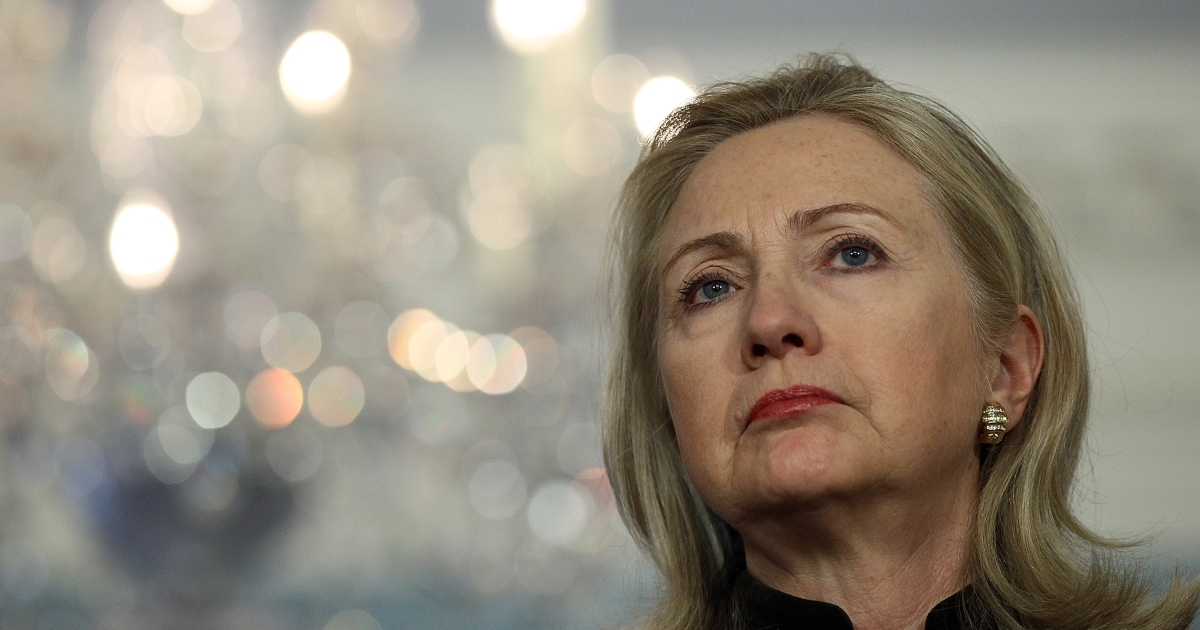 Secretary of State HIllary Clinton pictured at the U.S. State Department February 13, 2012 in Washington, DC. Clinton had been meeting in Washington with Turkish Foreign Minister Ahmet Davutoglu on regional issues including Syria.</p>