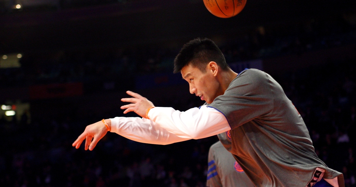 Jeremy Lin at Madison Square Garden on February 10, 2012 in New York City.</p>