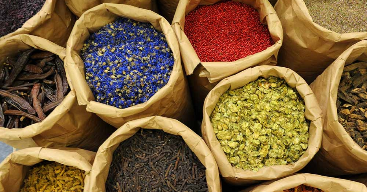 Different herbs and spices are on display at a booth of the BioFach trade fair for organic products in Nuremberg, southern Germany, on February 15, 2012. DAVID EBENER/AFP/Getty Images</p>