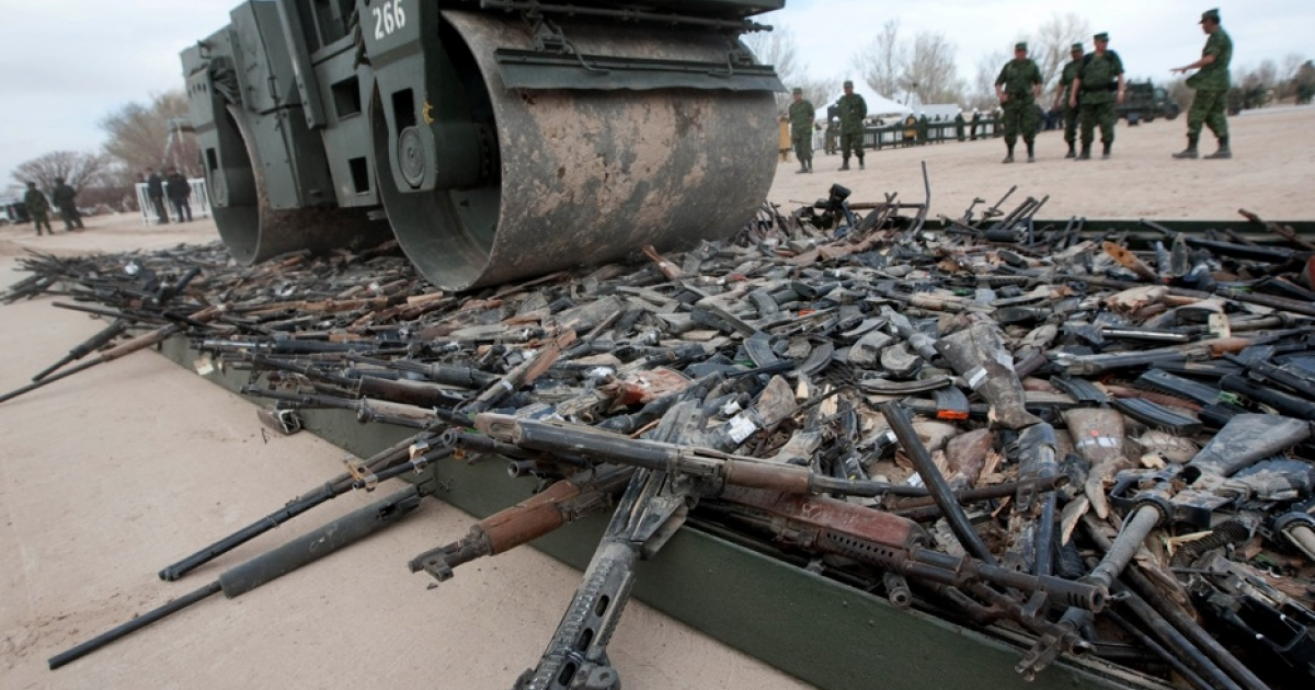 Thousands of guns are destroyed in Ciudad Juarez, in Mexico's Chihuahua state, on Feb. 16.</p>