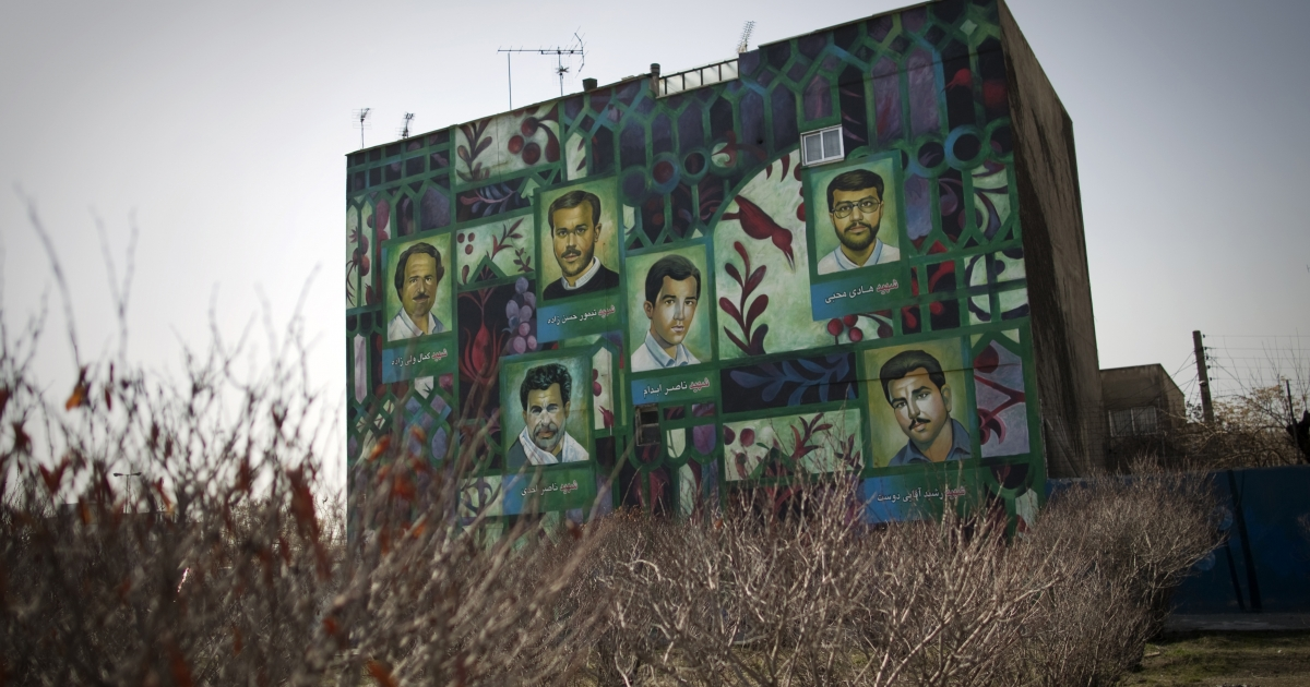 A mural painting west of the Iranian capital Tehran depicts
