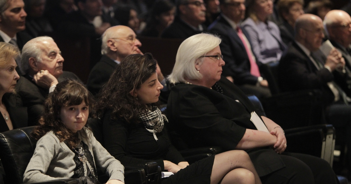 From L to R: Leila Shadid and Nada Bakri, the daughter and wife of New York Times reporter Anthony Shadid, sit next to US Ambassador to Lebanon Maura Connelly during a memorial ceremony for the US journalist of Lebanese descent, who died last week in Syria of an asthma attack, held at the American University of Beirut (AUB) February 21, 2012.</p>