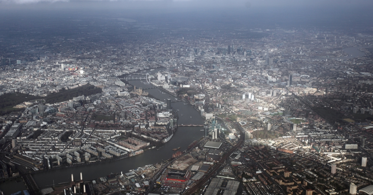 An aerial view of the river Thames in Westminster from a commercial flight approaching Heathrow airport on February 21, 2012 in London, England.</p>