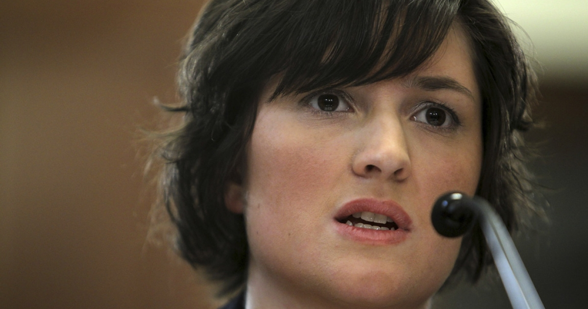 Sandra Fluke, a third-year law student at Georgetown University, testifies before the House Democratic Steering and Policy Committee on Feb. 23 in Washington, DC. Fluke was blocked from testifying at last week's House Oversight and Government Reform Committee's contraceptives hearing.</p>