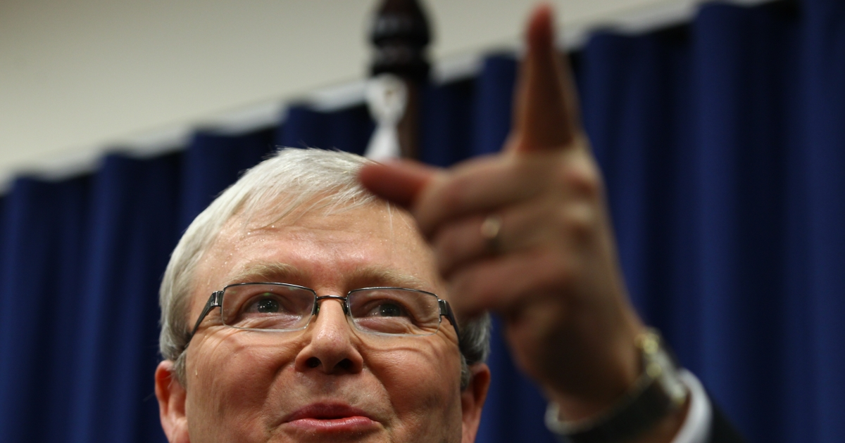 Kevin Rudd addresses a press conference in Brisbane on February 24, 2012. Rudd formally declared he would contest Prime Minister Julia Gillard for the leadership of the Australian Labor Party, in a caucus vote on February 27.</p>