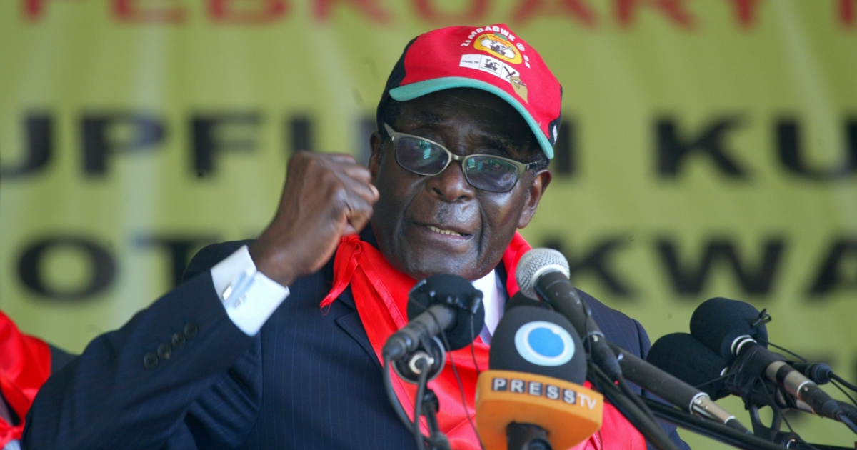 Zimbabwe's President Robert Mugabe speaks during a rally marking his 88th birthday in Mutare on February 25, 2012.</p>