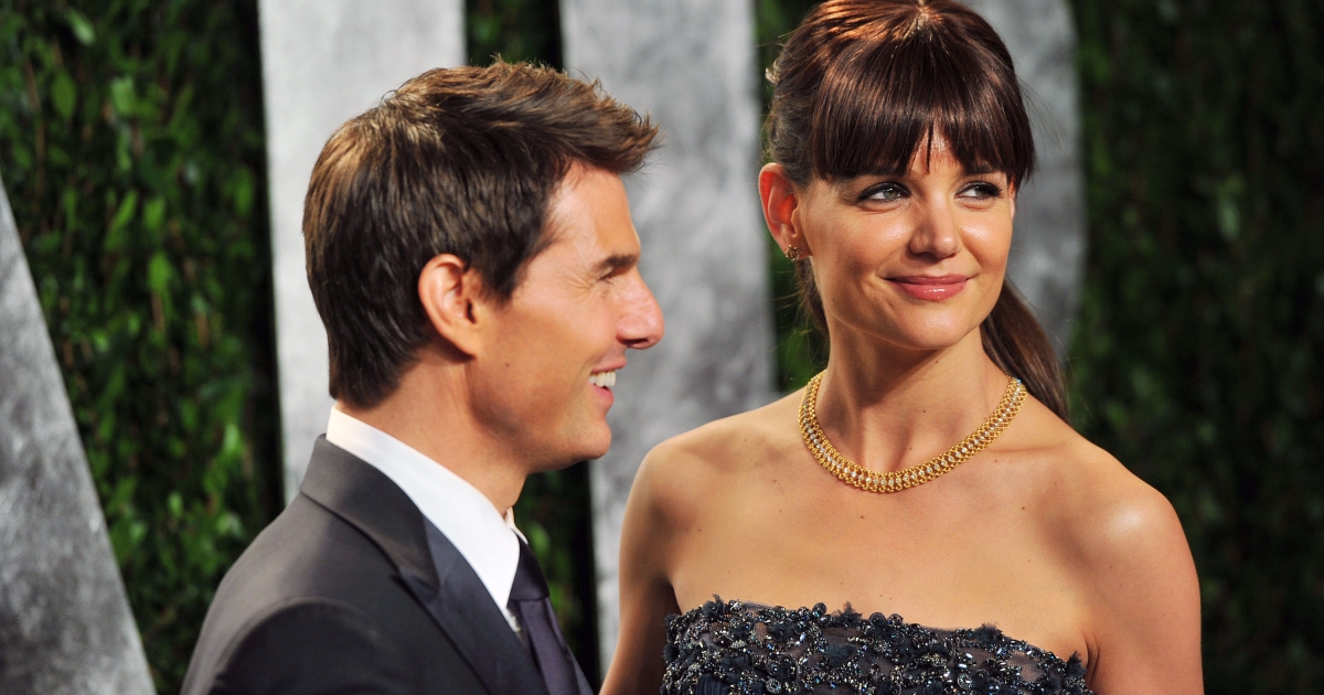 Tom Cruise and Katie Holmes arrive at the 2012 Vanity Fair Oscar Party hosted by Graydon Carter at Sunset Tower on February 26, 2012 in West Hollywood, California. The two announced plans to divorce today.</p>
