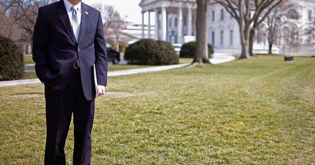Wisconsin Gov. Scott Walker stands on the North Lawn of the White House before making remarks to the news media after a meeting of the National Governors Association with President Barack Obama February 27, 2012 in Washington, DC.</p>