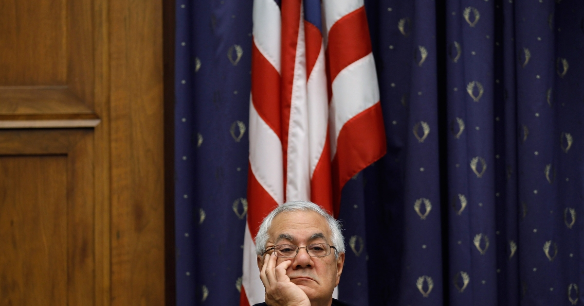 House Financial Services ranking member Rep. Barney Frank (D-MA) listens to testimony from Federal Reserve Bank Board Chairman Ben Bernanke on Capitol Hill February 29, 2012 in Washington, DC.</p>