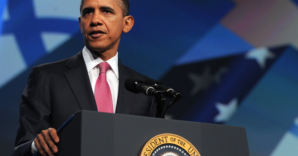 US President Barack Obama speaks at the AIPAC conference at the Washington Convention Center today. Obama warned Iran that he would not hesitate to use force, if required, to stop it developing a nuclear weapon.</p>