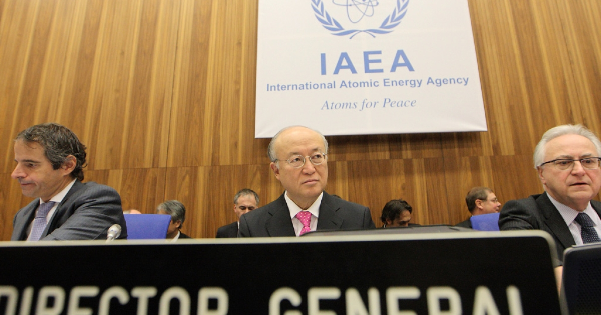 International Atomic Energy Agency director general Yukiya Amano looks on during a board of governors meeting at the UN atomic agency headquarters in Vienna on Monday.</p>