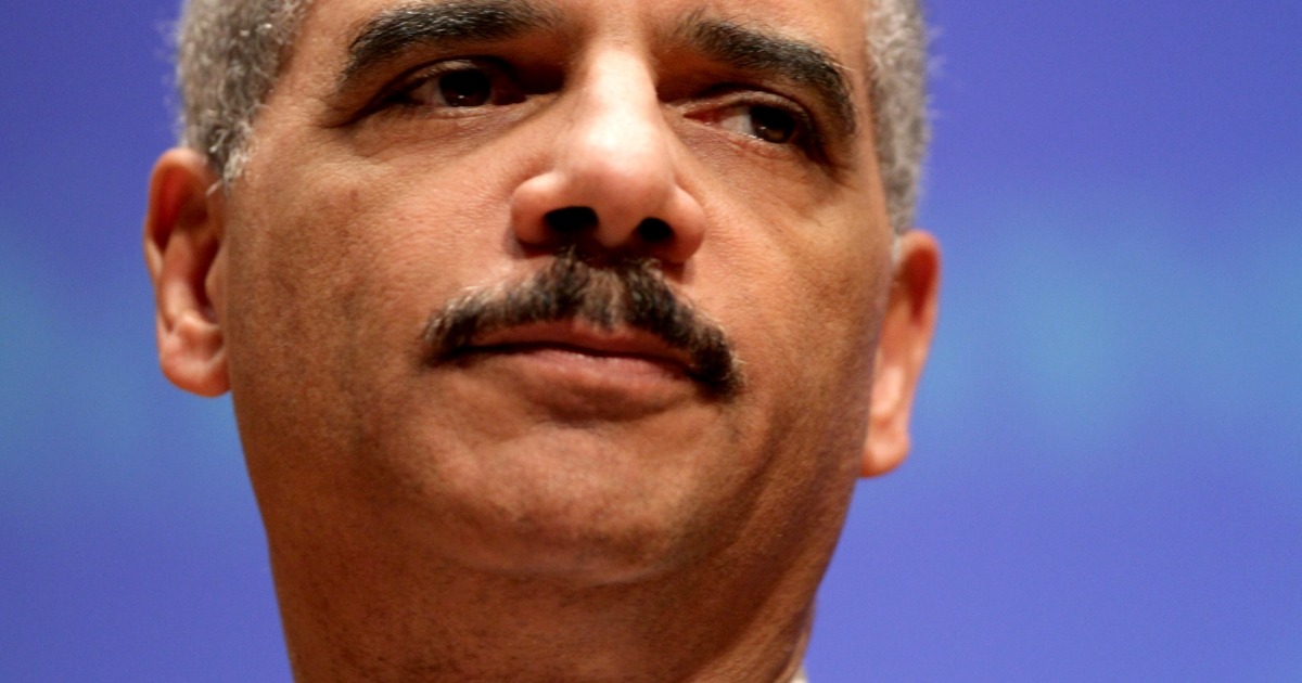 US Attorney General Eric Holder gives a speach at Northwestern Law School on March 5, 2012 in Chicago, Illinois.</p>