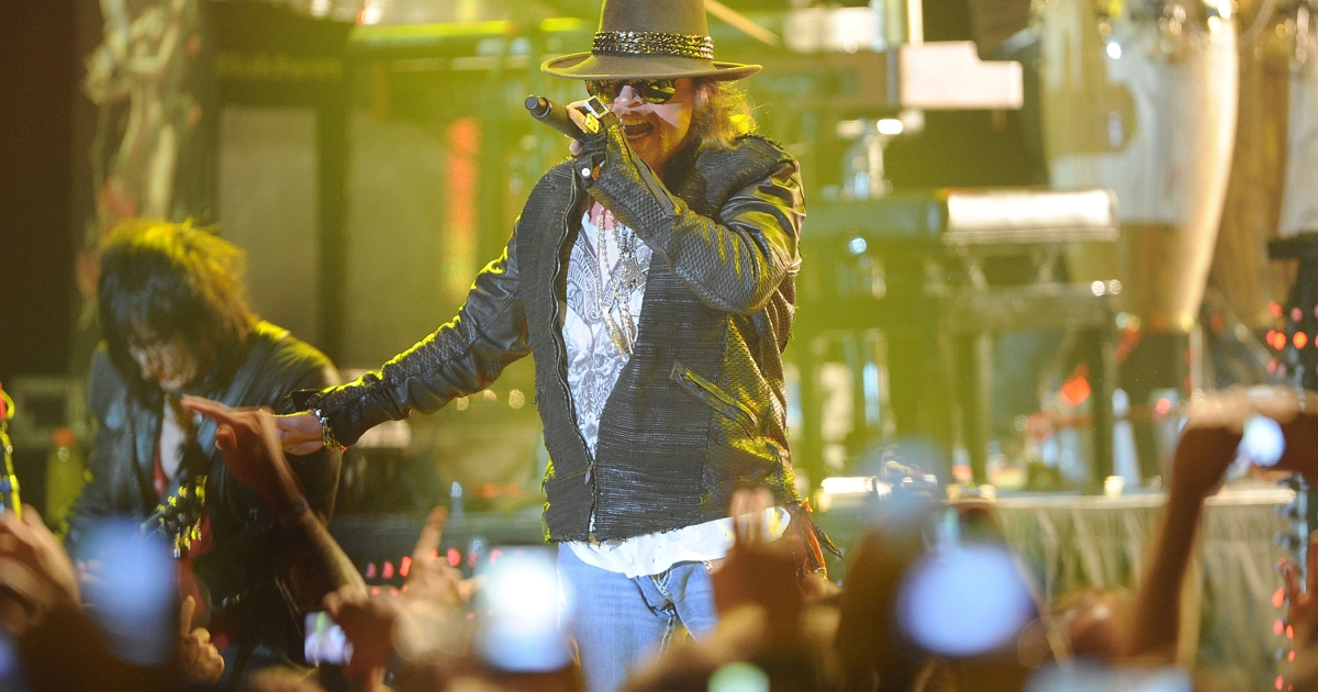 Singer Axl Rose of Guns N' Roses performs at the Hollywood Palladium on March 9, 2012 in Hollywood, California.</p>