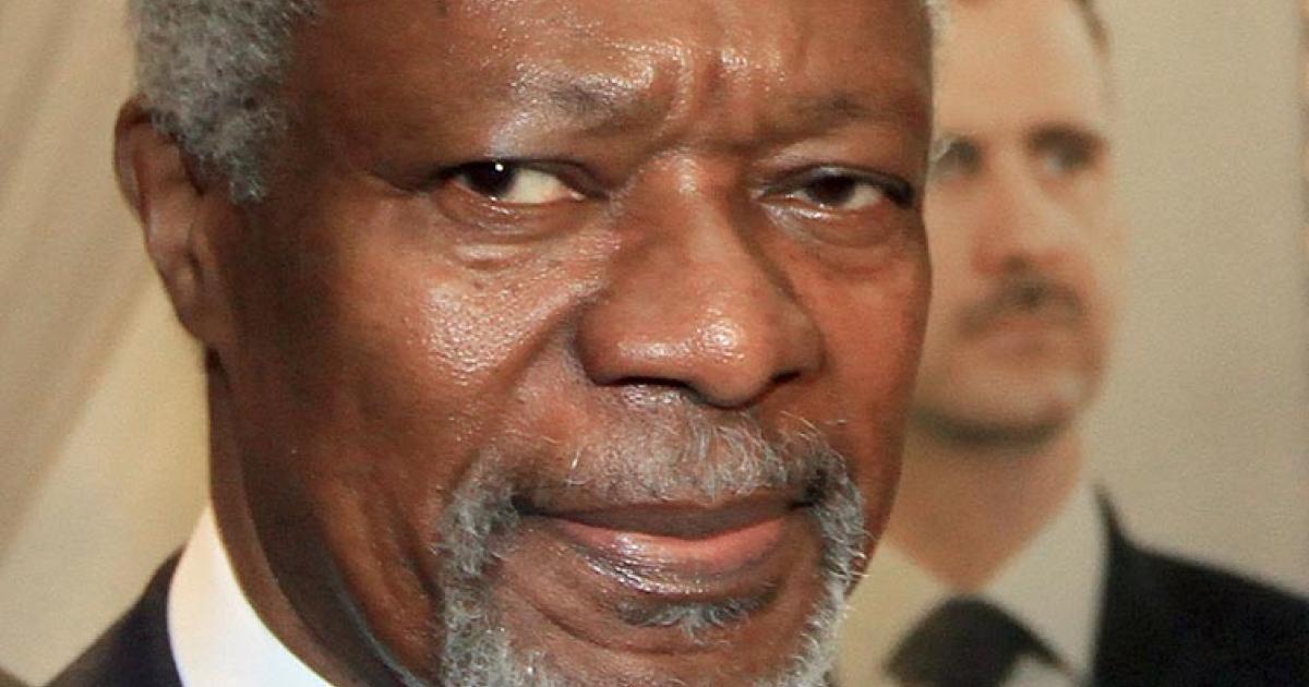 UN-Arab League envoy for Syria Kofi Annan in Damascus on March 11, 2012.</p>