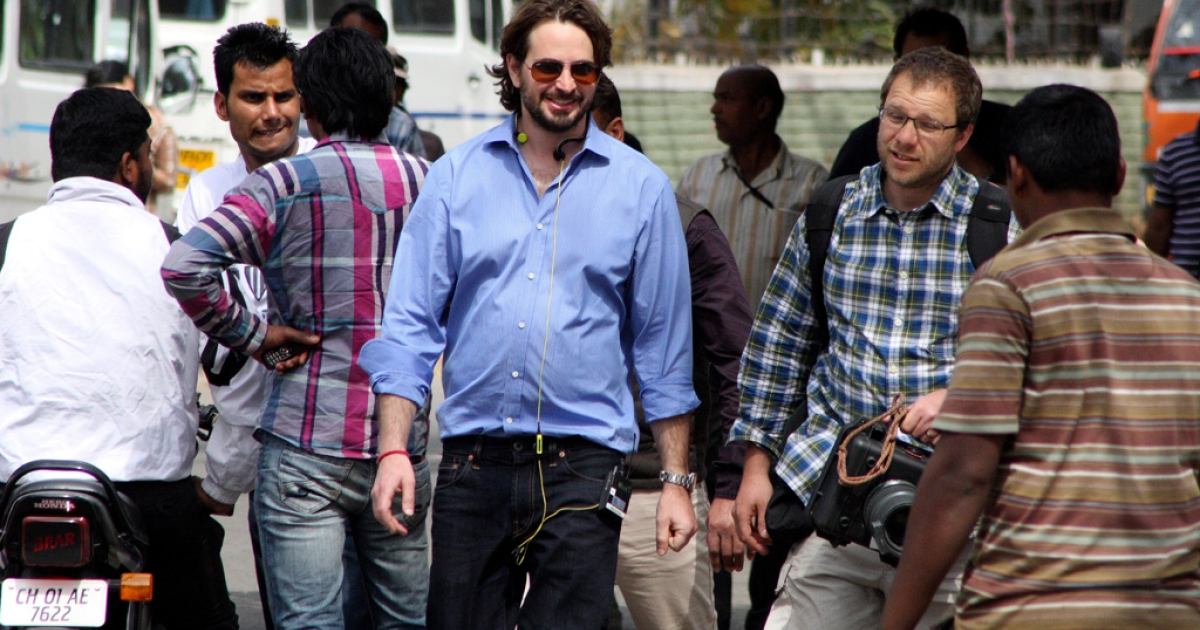 Producer Mark Boal arrives on the set of Kathryn Bigelow's forthcoming film on Osama bin Laden, in Chandigarh, India, on March 11, 2012.