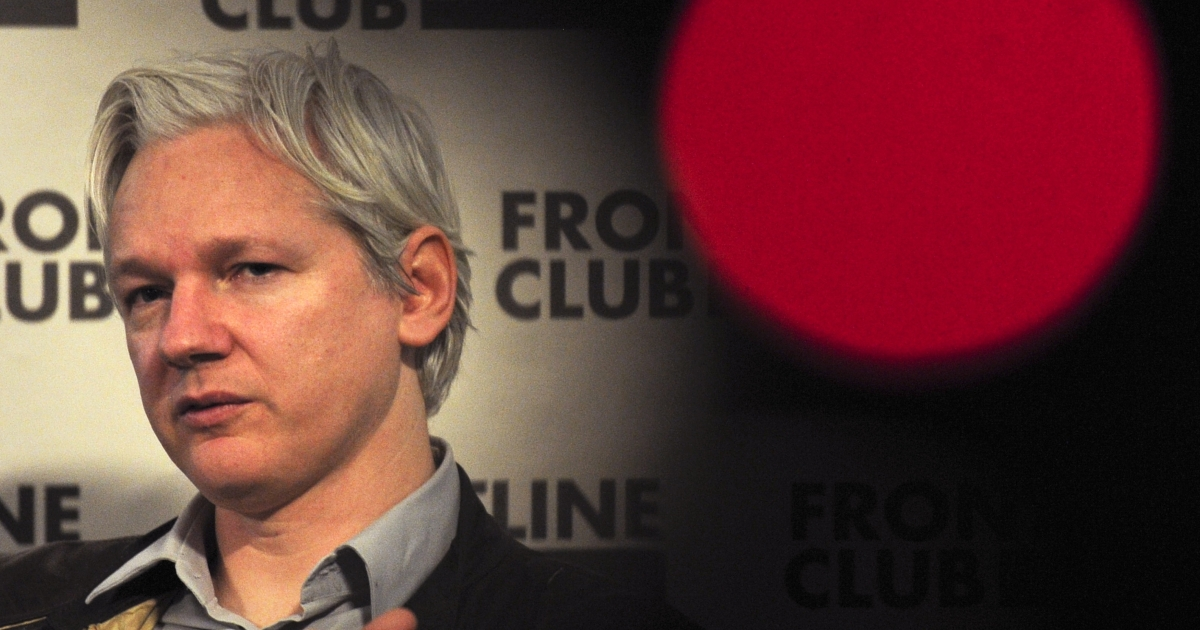 In a file photo taken on February 27, 2012, WikiLeaks founder Julian Assange talks during a press conference in central London.</p>