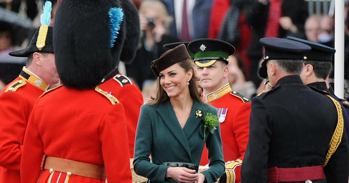Catherine, the Duchess of Cambridge (C) smiles as she visits the 1st Battalion Irish Guards at the St Patrick's Day Parade on March 17, 2012 at Mons Barracks, in Aldershot, one of her many engagements while William was on duty in the Falkland Islands.</p>
