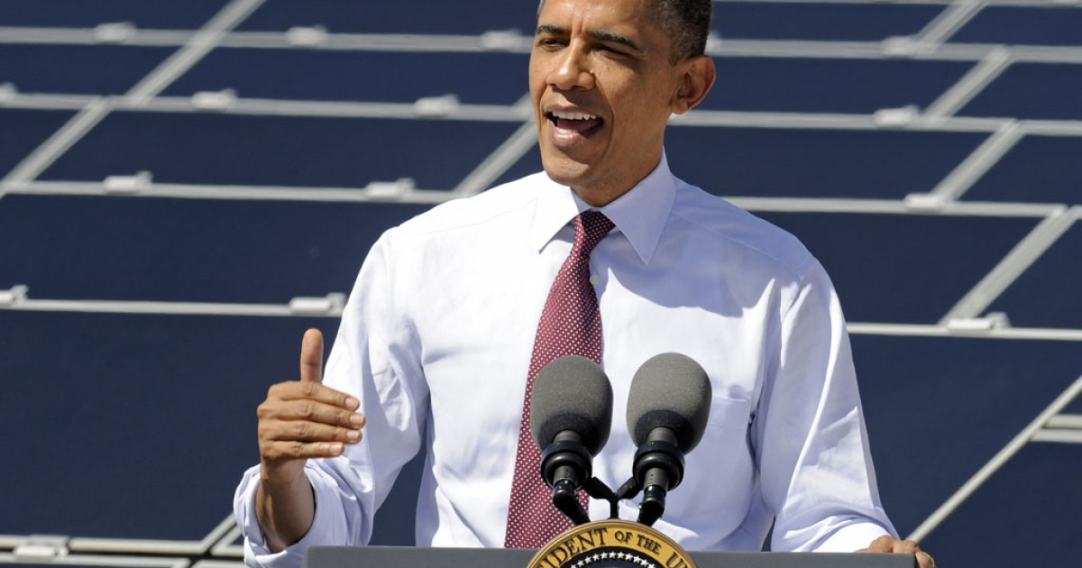 U.S. President Barack Obama speaks at Sempra U.S. Gas &amp; Power's Copper Mountain Solar 1 facility in Boulder City, Nev., today. Obama is on a four-state tour promoting his energy policies. The Copper Mountain solar facility is the largest operating photo-voltaic plant operating in the country.</p>