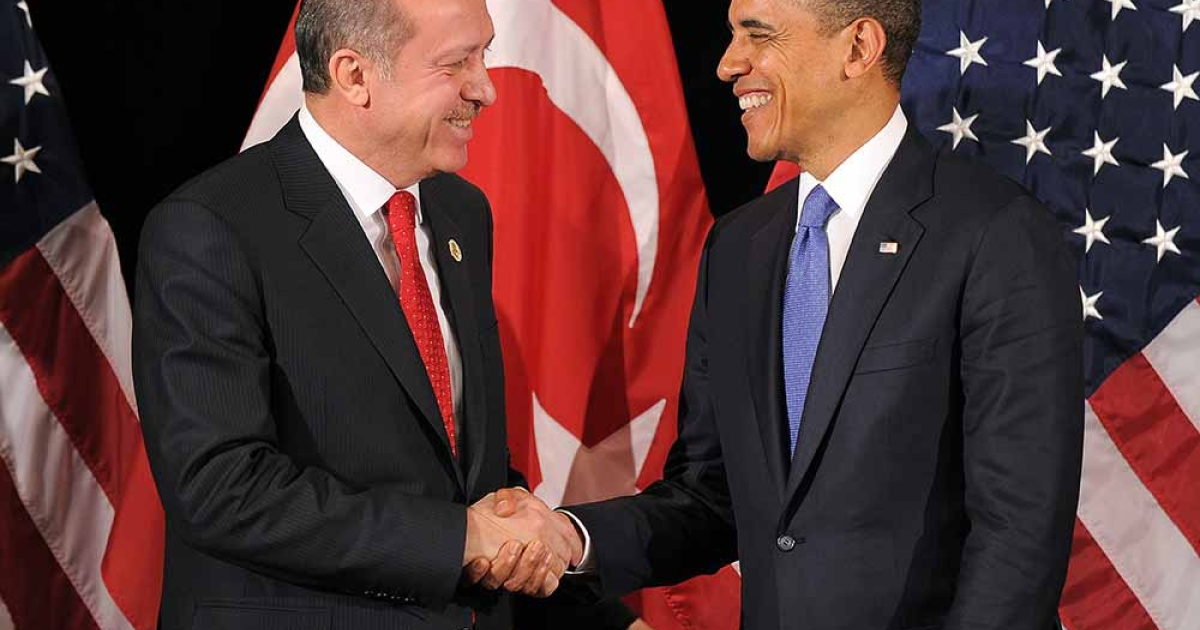 US President Barack Obama (R) shakes hands with Turkish Prime Minister Recep Tayyip Erdogan after their bilateral meeting in Seoul on March 25, 2012 on the eve of the 2012 Seoul Nuclear Security Summit.</p>