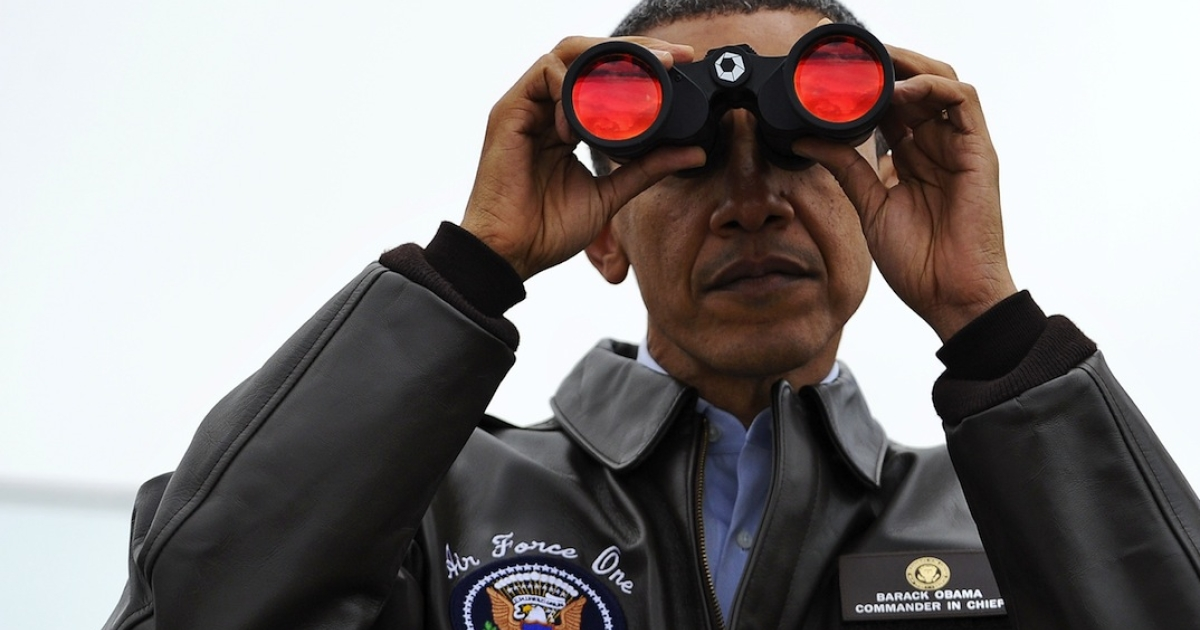 US President Barack Obama looks through binoculars towards North Korea from Observation Post Ouellette during a visit to the Joint Security Area of the Demilitarized Zone (DMZ).</p>
