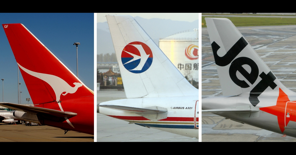 A trio of tail sections showing the logos of Qantas, Eastern Airlines and JetStar.</p>