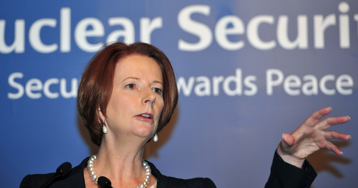 Australia's Labor Prime Minister Julia Gillard tries to turn her attention to slightly bigger concerns than a scandal at home that could topple her government, speaking at the 2012 Seoul Nuclear Security Summit in Seoul on March 27, 2012.</p>