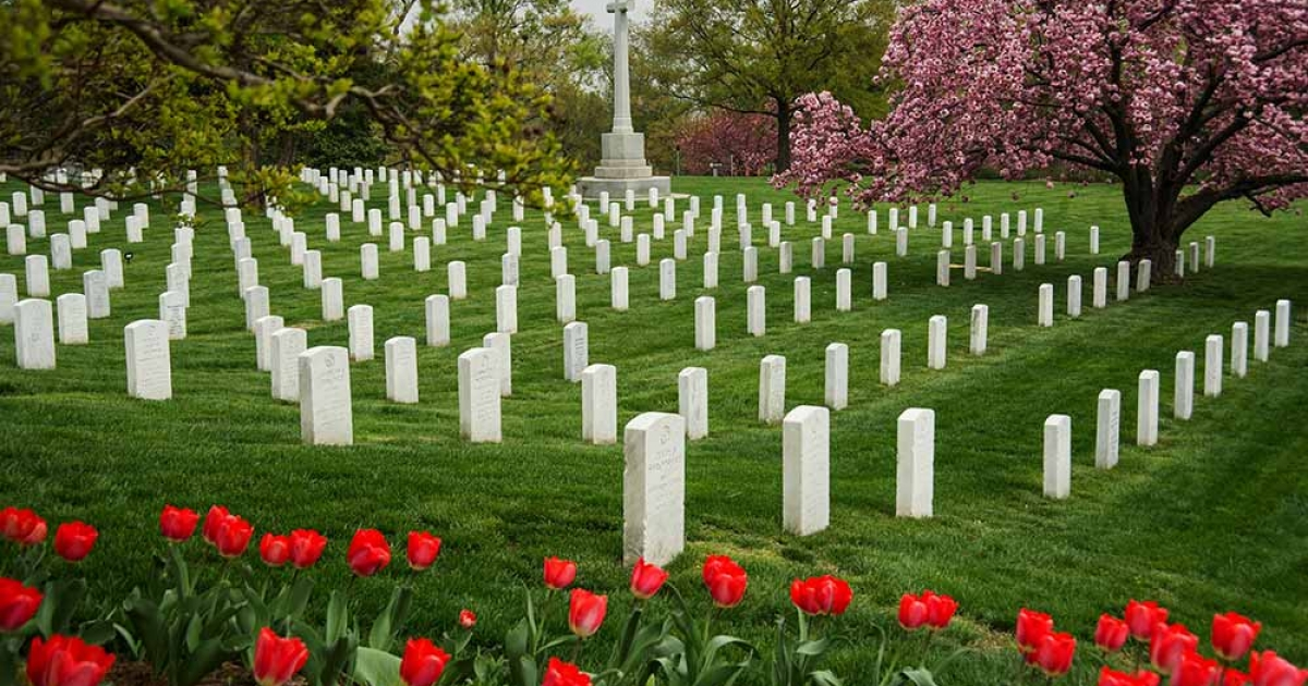 Headstones in Arlington National Cemetery are seen in this March 31, 2012 photo in Arlington, Virginia. President Obama will mark Memorial Day at Arlington National Cemetery.</p>