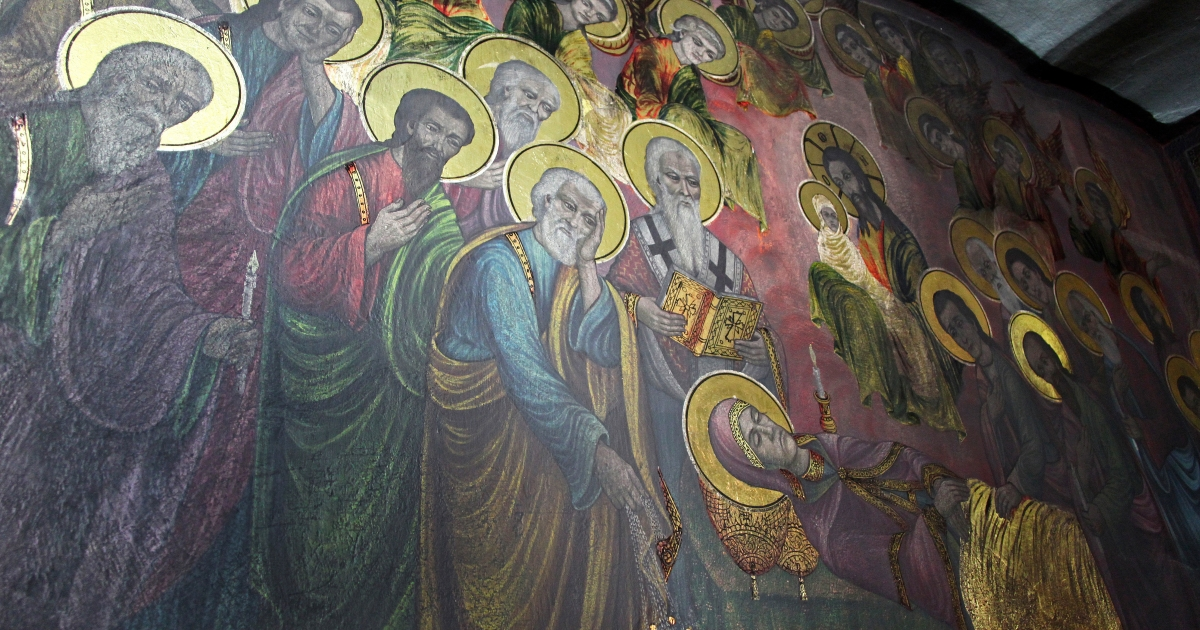 Picture taken on April 9, 2012 shows a fresco at the St. Dimitrija Church in Skopje where frescoes have begun to shine on their own.</p>