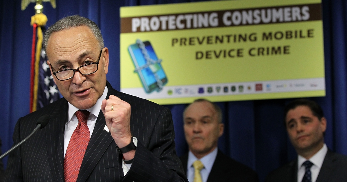 US Senator Charles Schumer speaks during a news conference to announce 'a major wireless industry agreement to combat cell phone theft and related crimes' April 10, 2012 in Washington, DC.</p>